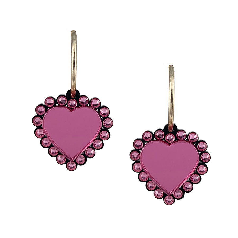 Jennifer Loiselle Baby Be Mine Heart Swarovski Hoop Earrings