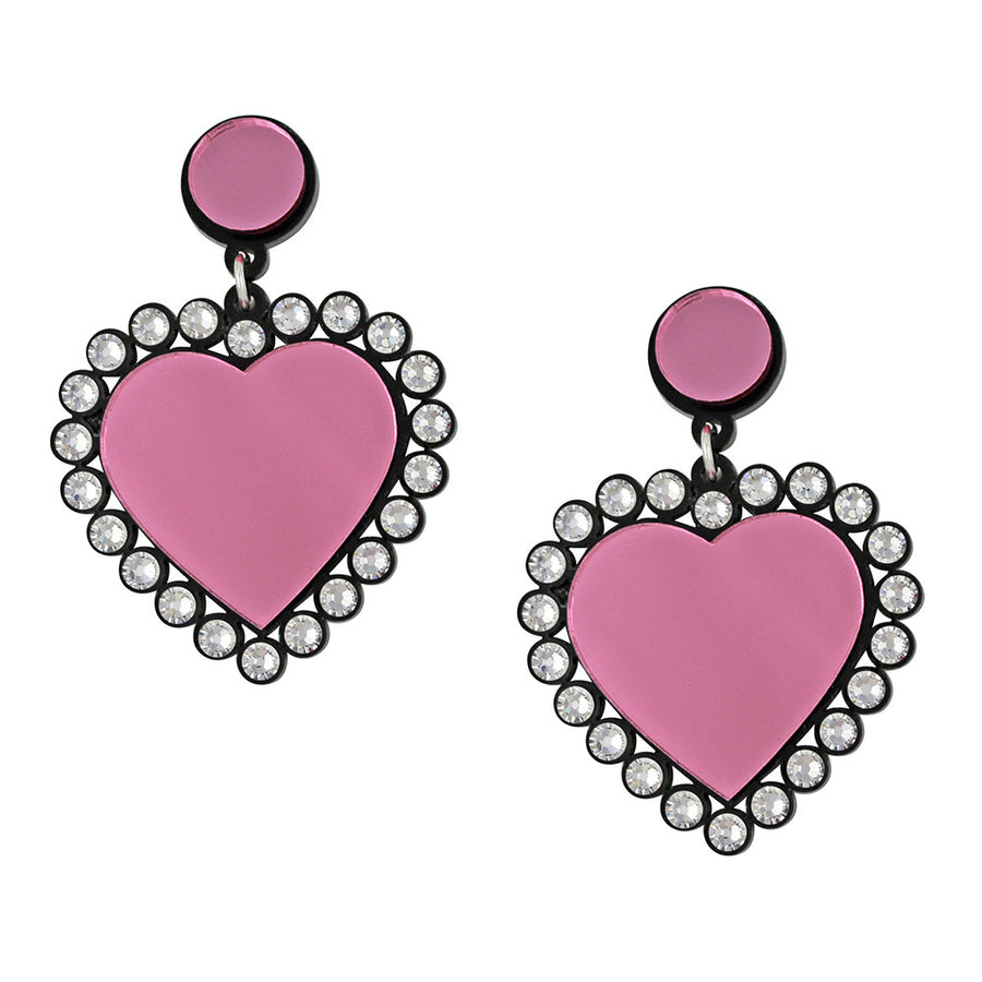 Jennifer Loiselle laser cut acrylic pink Swarovski heart earrings