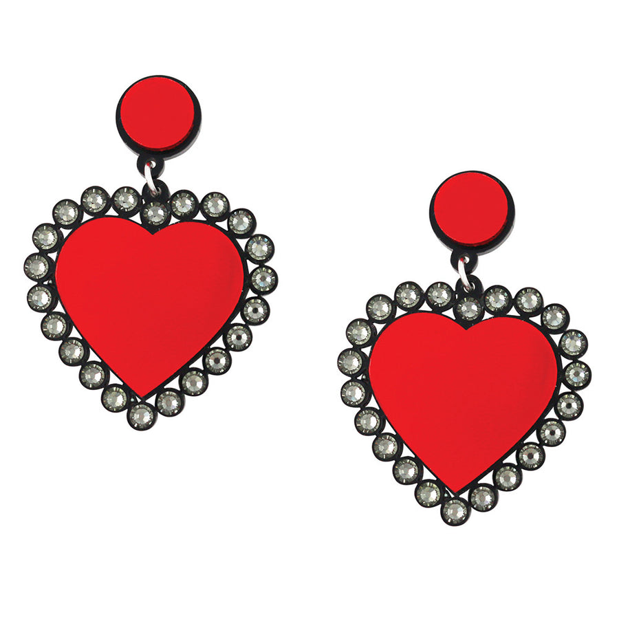 Jennifer Loiselle laser cut acrylic red Swarovski heart earrings