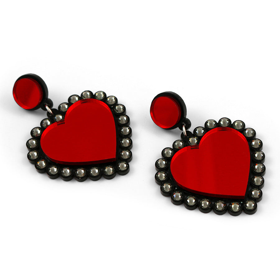 Baby Be Mine Heart Earrings in red