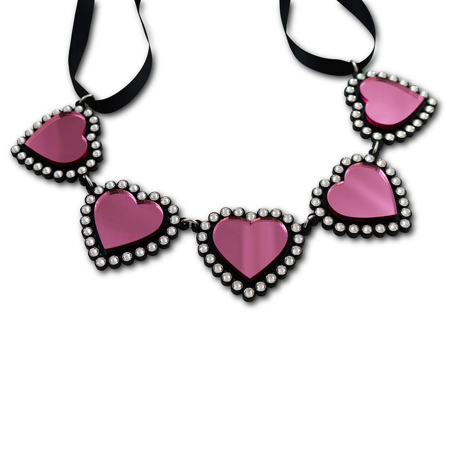 Jennifer Loiselle laser cut acrylic pink Swarovski heart necklace