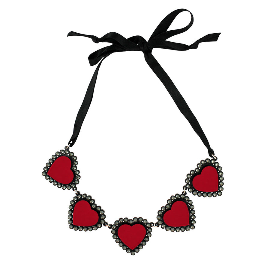 Baby Be Mine Heart Necklace in red