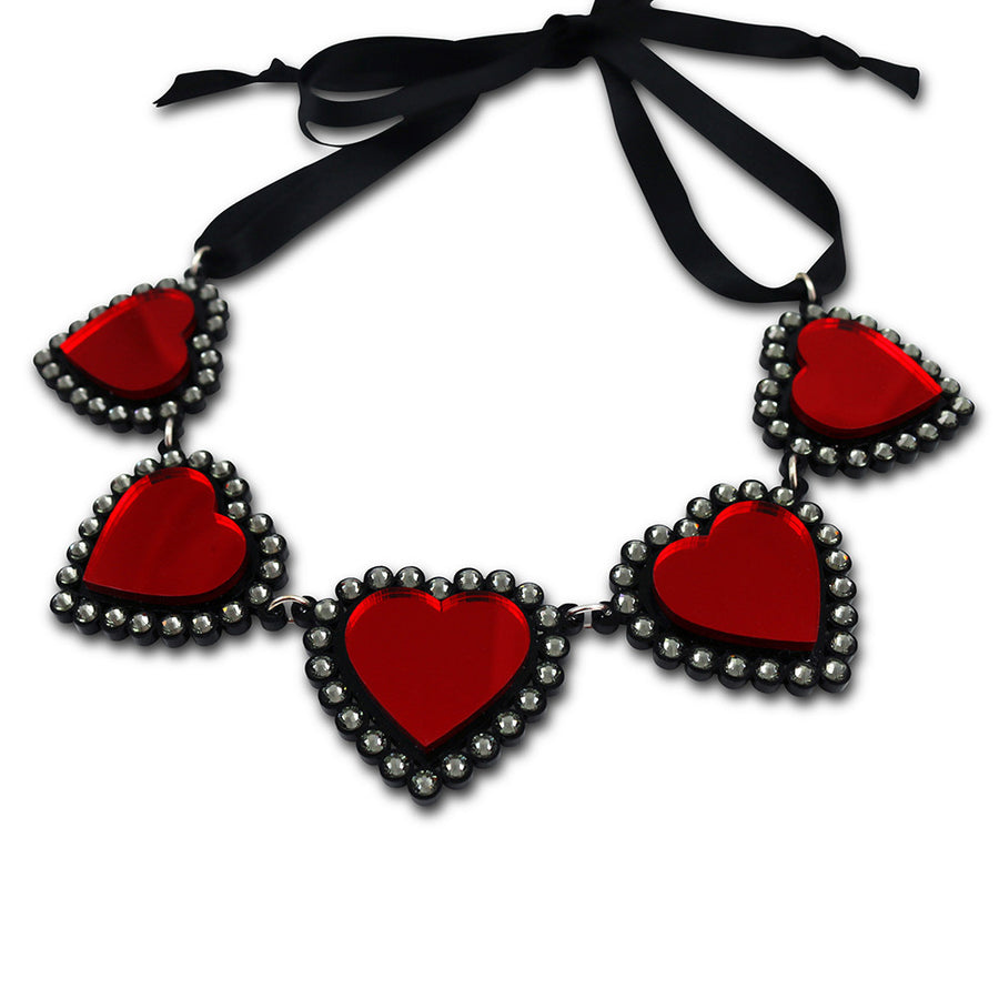 Jennifer Loiselle laser cut acrylic red Swarovski heart necklace