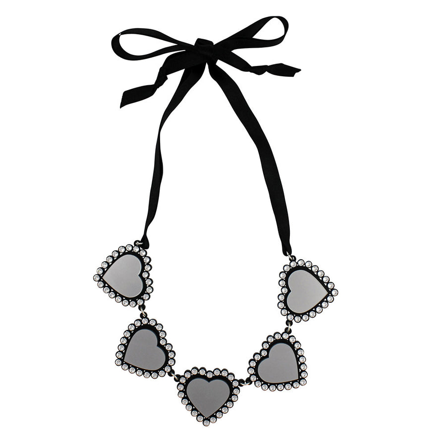 Jennifer Loiselle laser cut acrylic silver Swarovski heart necklace