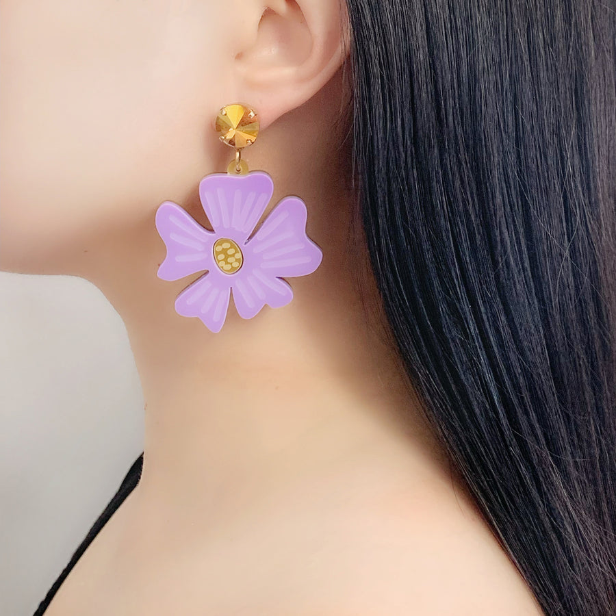 Blossom Drop Earrings in Lavender