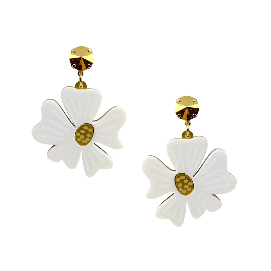 Blossom Drop Earrings in White