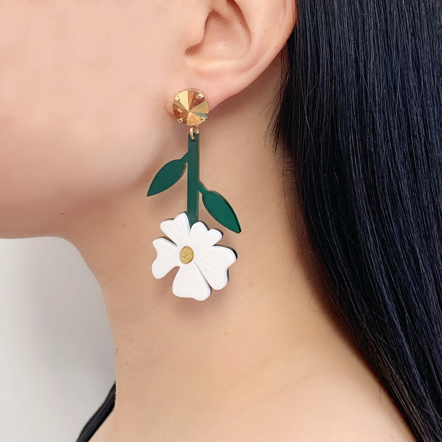 Jennifer Loiselle laser cut acrylic flower blossom statement earrings