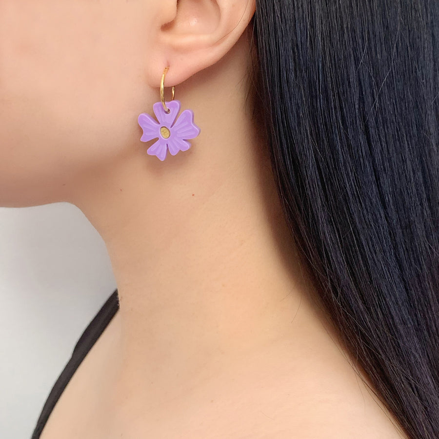 Blossom Hoop Earrings in Lavender