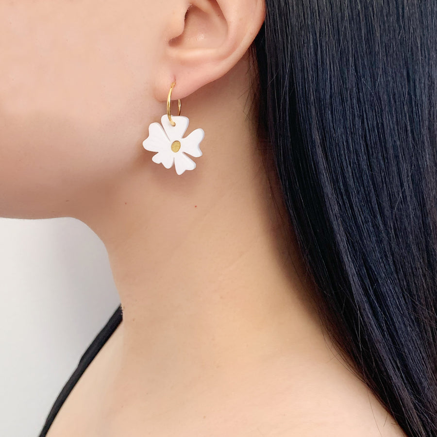 Jennifer Loiselle laser cut acrylic flower blossom hoop earrings