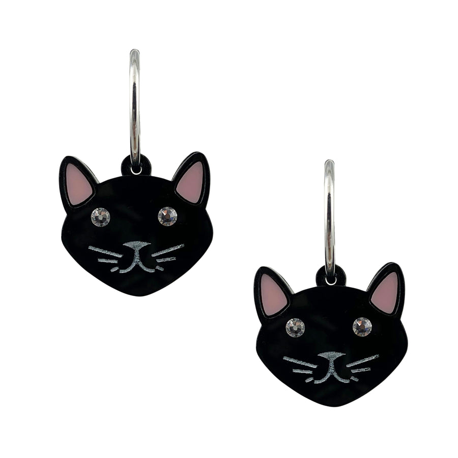Jennifer Loiselle Laser Cut Acrylic Cat Charm Hoop Earrings