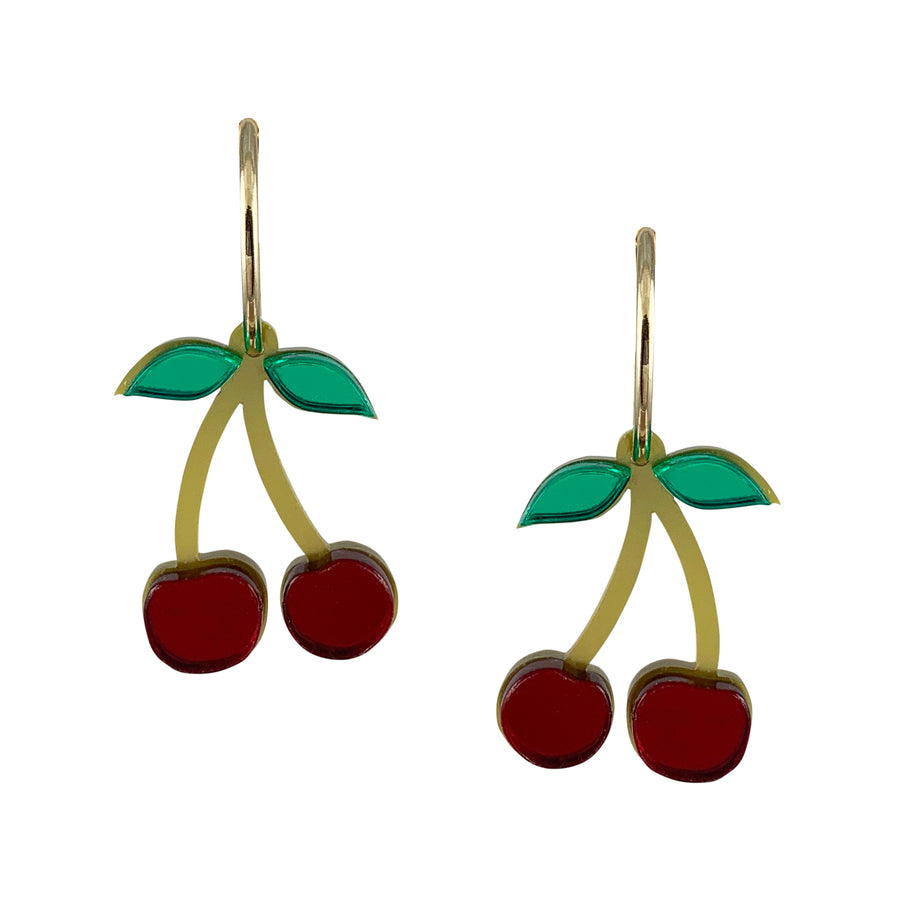 Jennifer Loiselle laser cut Perspex acrylic cherry fruit hoop earrings