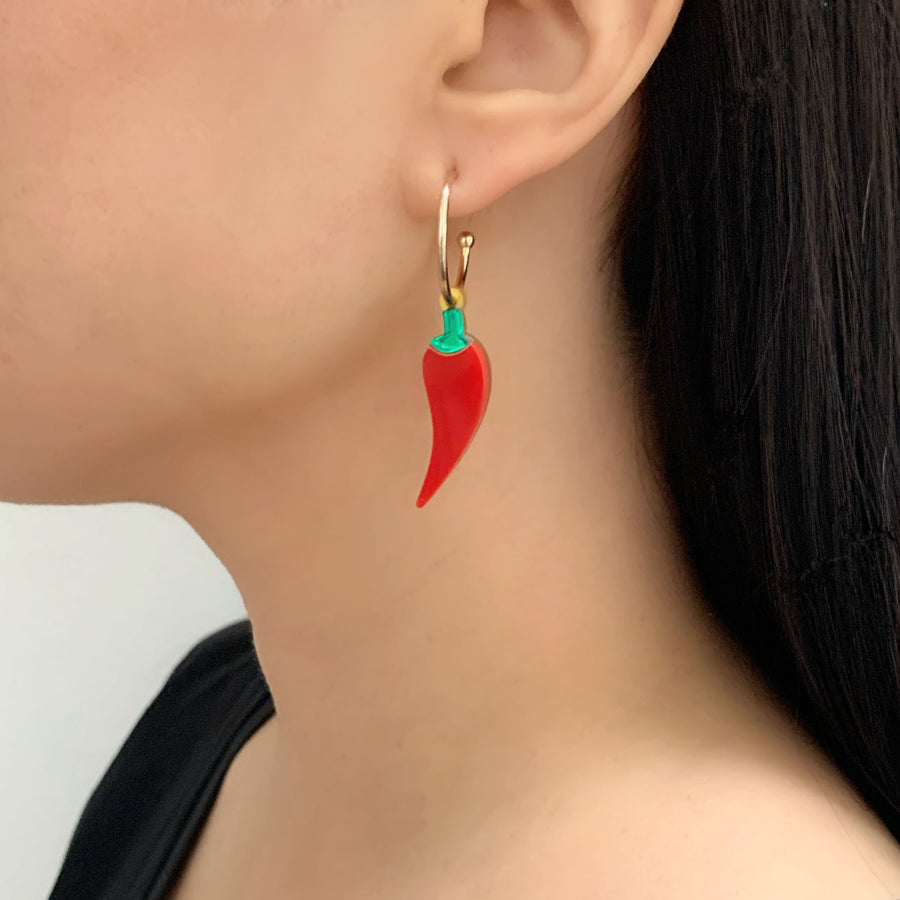 Jennifer Loiselle laser cut acrylic lucky chilli earrings