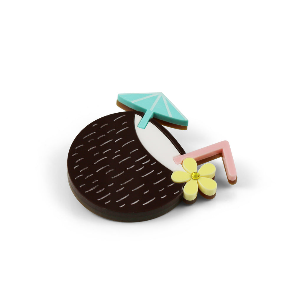 Coconut Tiki Cocktail Brooch