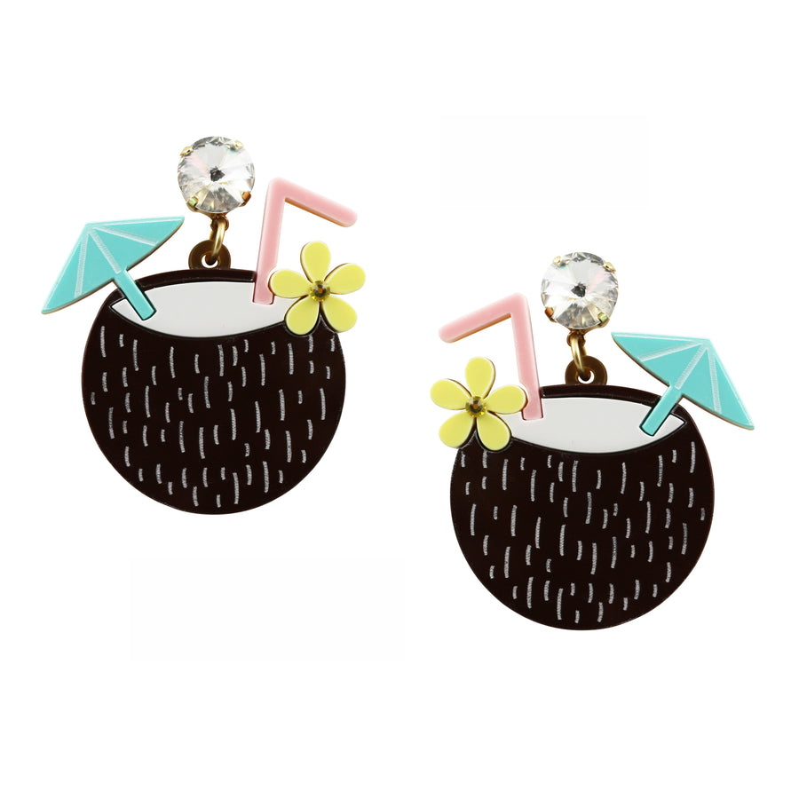 Jennifer Loiselle laser cut acrylic coconut earrings