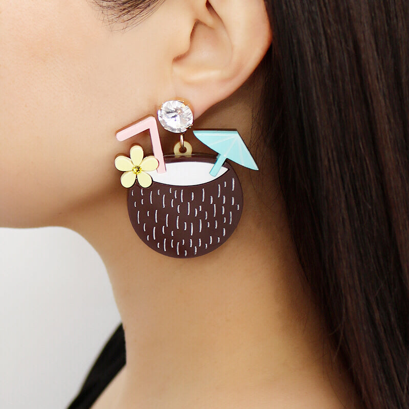 Coconut Tiki Cocktail Earrings