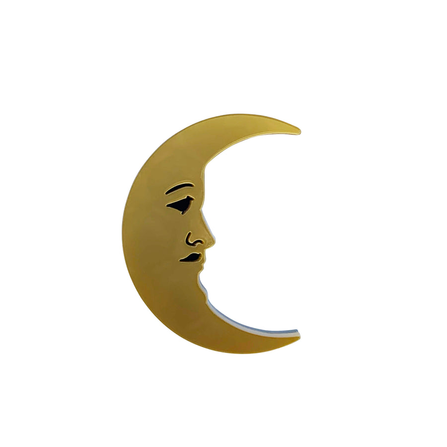 Jennifer Loiselle laser cut acrylic crescent moon brooch