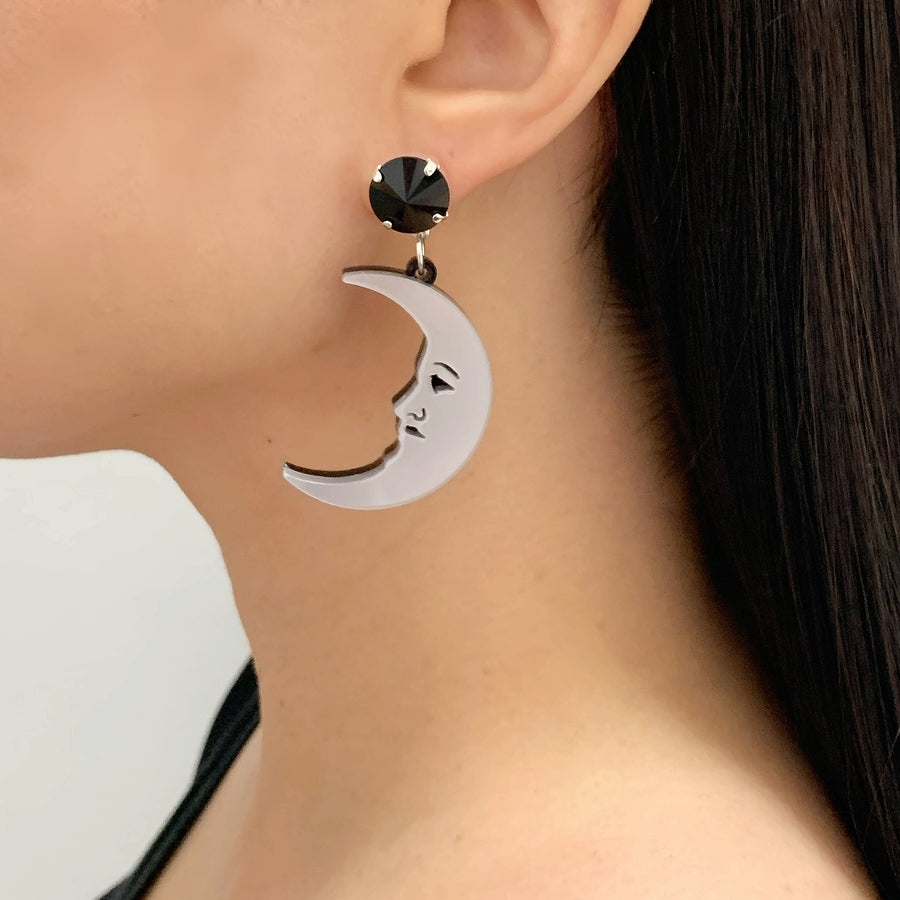 Jennifer Loiselle laser cut acrylic crescent moon earrings