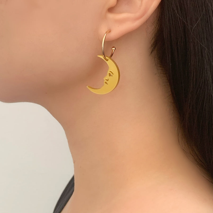 Jennifer Loiselle crescent moon gold hoop earrings