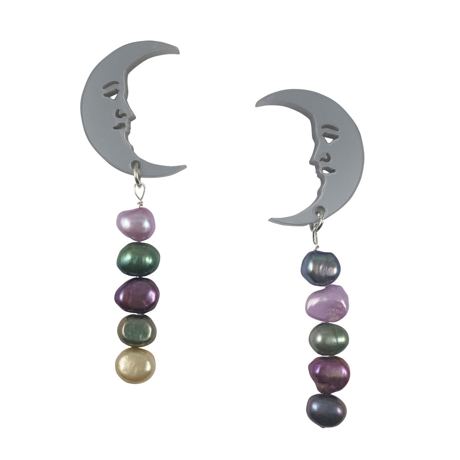 Jennifer Loiselle crescent moon silver pearl earrings