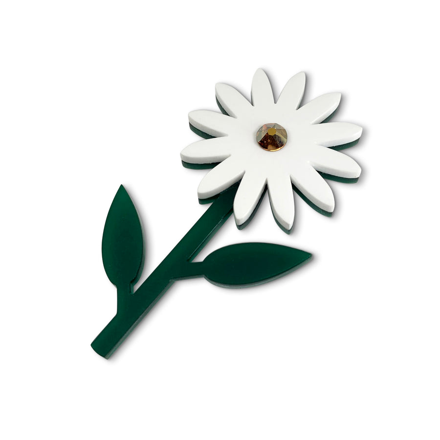 Daisy Brooch in White