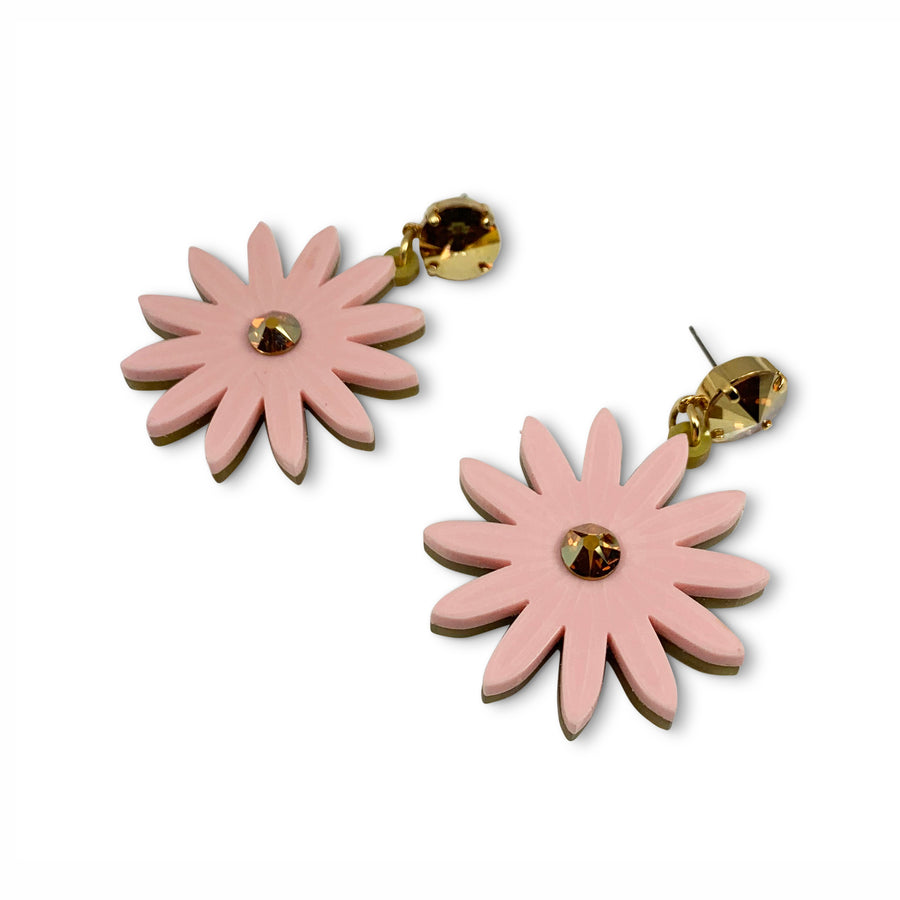Jennifer Loiselle laser cut acrylic daisy flower earrings