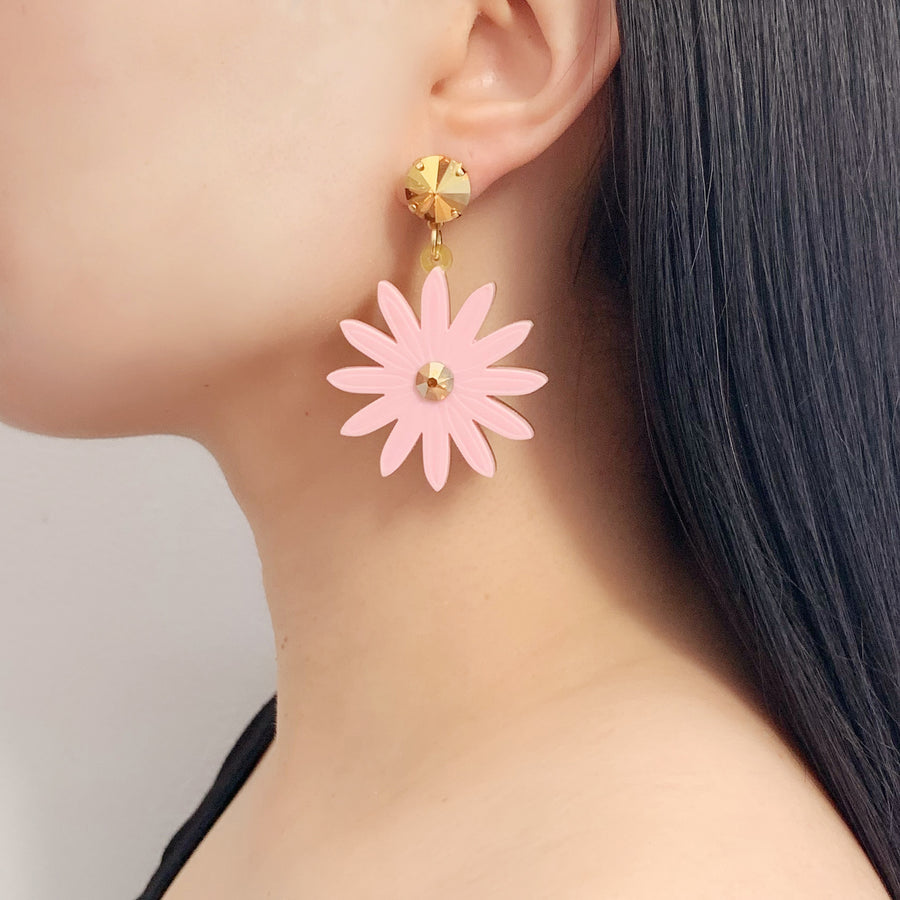 Daisy Drop Earrings in Pink