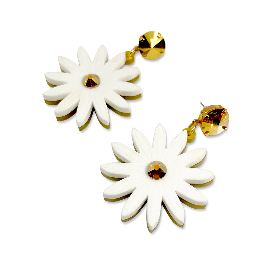Daisy Drop Earrings in White