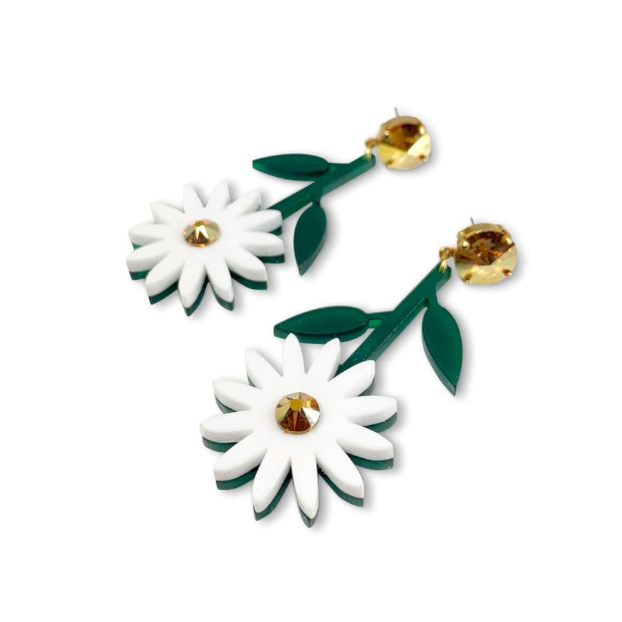 Jennifer Loiselle laser cut perspex daisy flower earrings