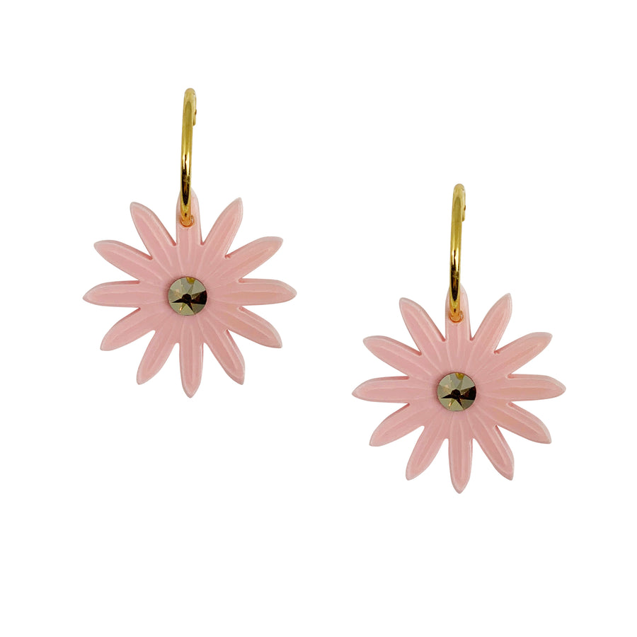 Daisy Hoop Earrings in Pink