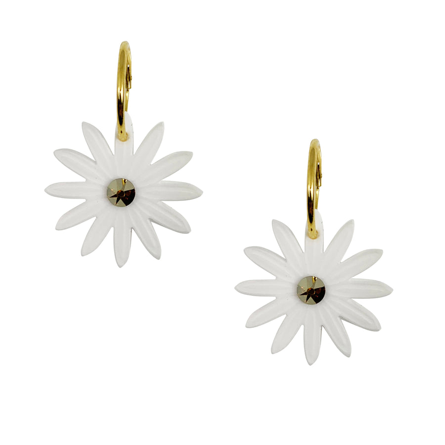 Jennifer Loiselle laser cut acrylic daisy flower hoop earrings