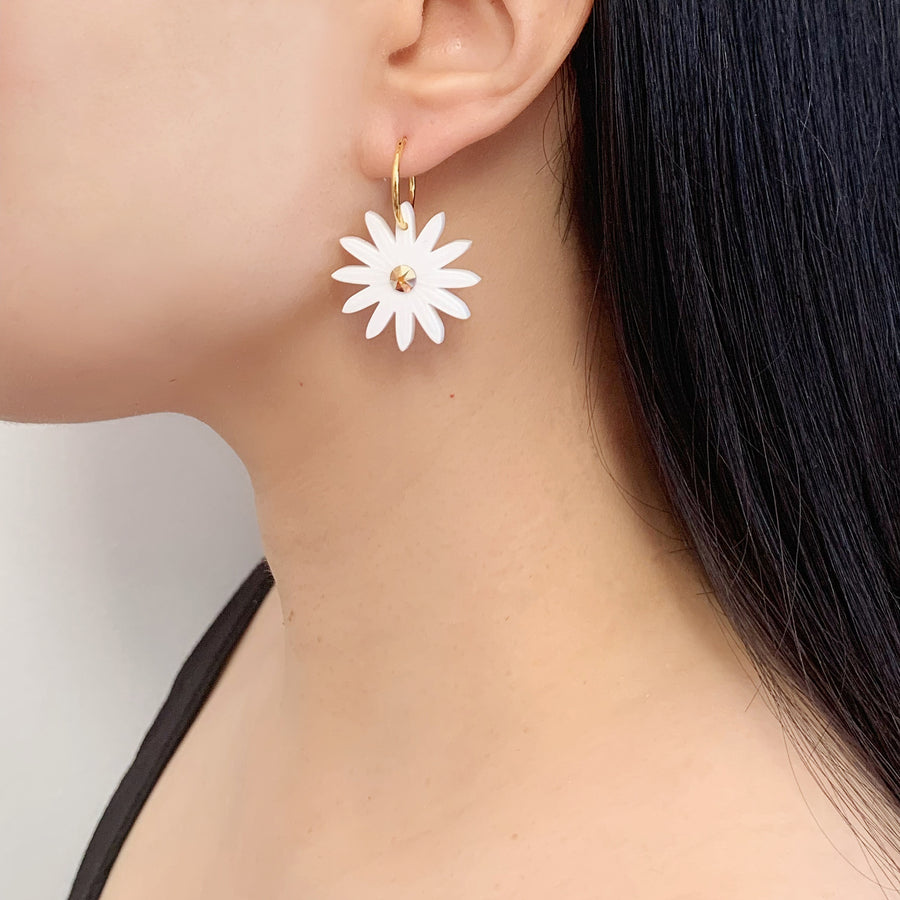 Daisy Hoop Earrings in White