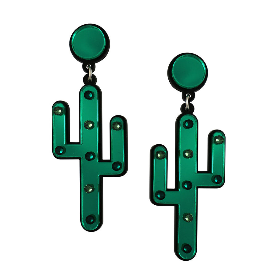 Jennifer Loiselle laser cut Perspex cactus earrings