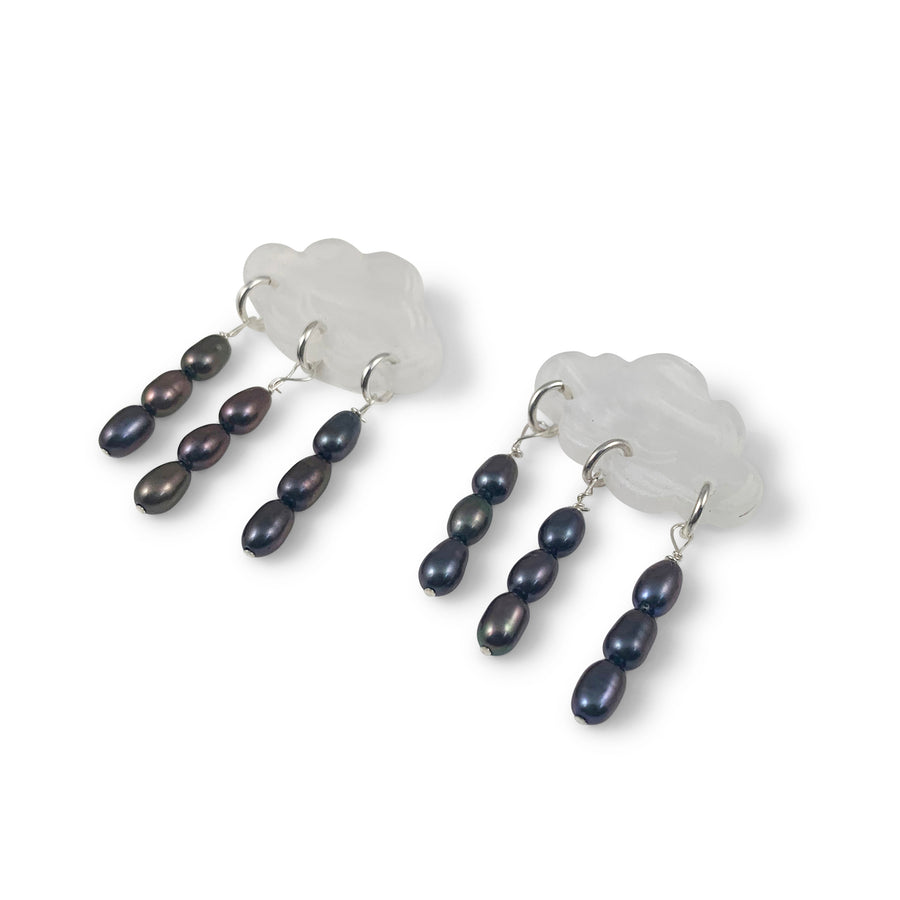 Jennifer Loiselle laser cut acrylic cloud pearl earrings