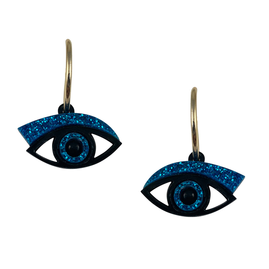 Eye Hoop Earrings in Blue