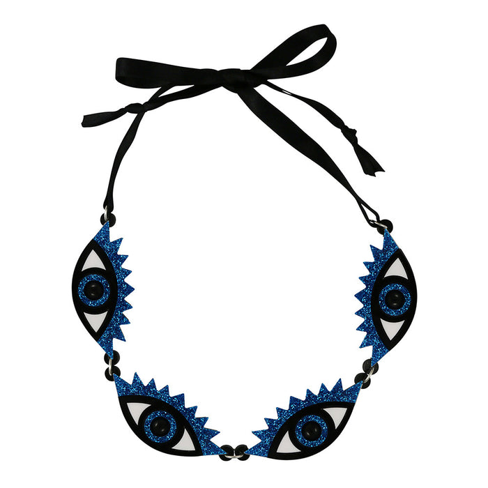 An Eye for an Eye Necklace in blue glitter