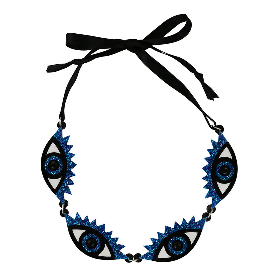 Laser cut acrylic Perspex eye necklace
