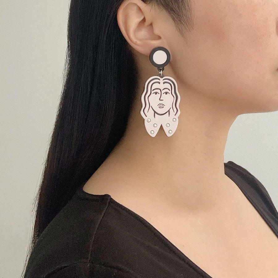 Jennifer Loiselle Matisse face statement fashion acrylic earrings