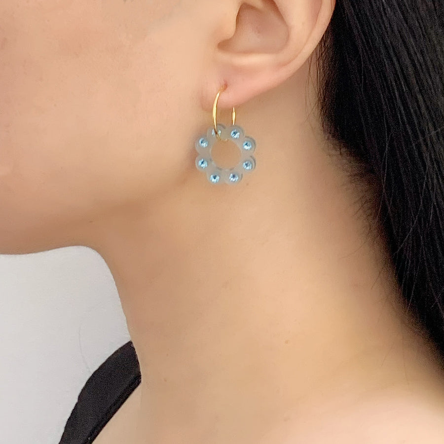 Floral Hoop Earrings in Blue Frost