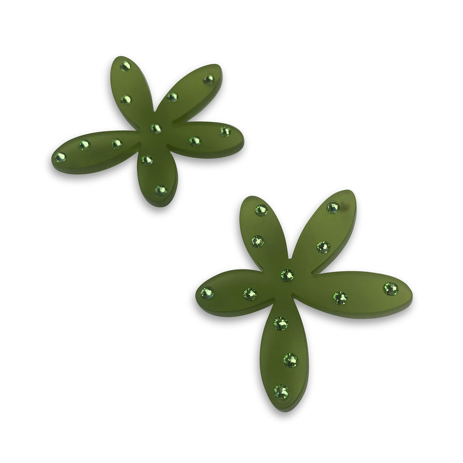 Floral Stud Earrings in Green Frost