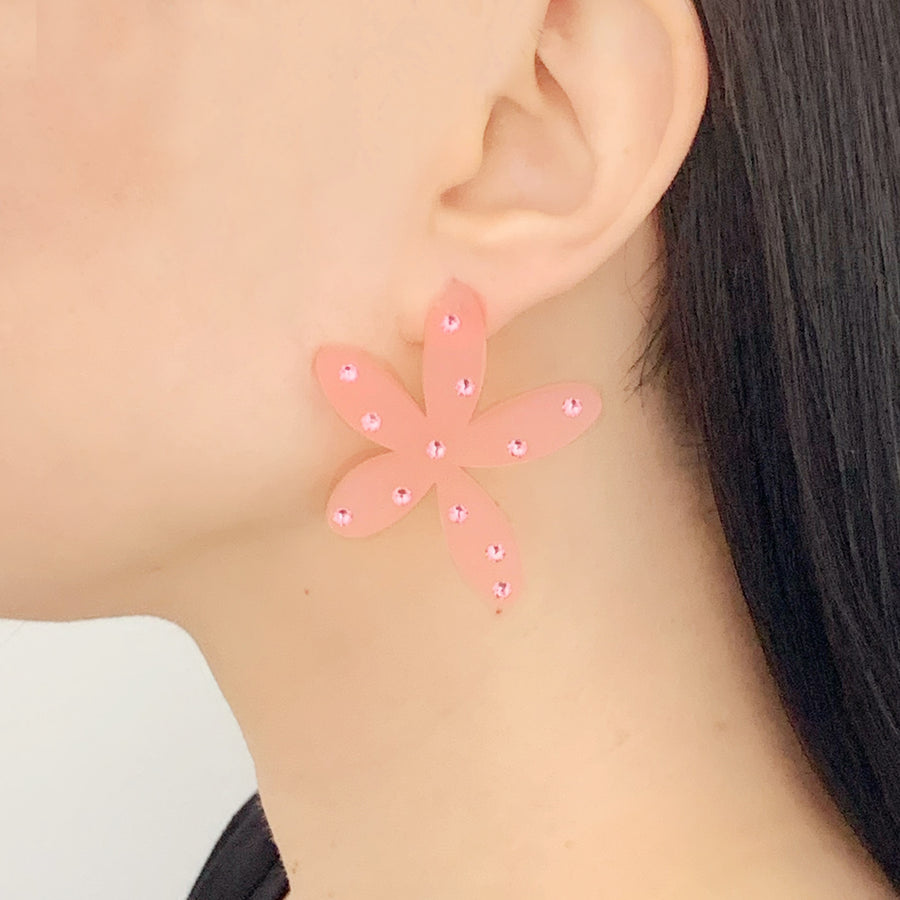Floral Stud Earrings in Pink Frost
