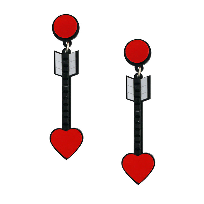 From the Heart Arrow Earrings in red