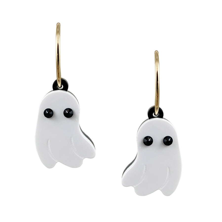 Jennifer Loiselle acrylic laser cut ghost charm hoop earrings