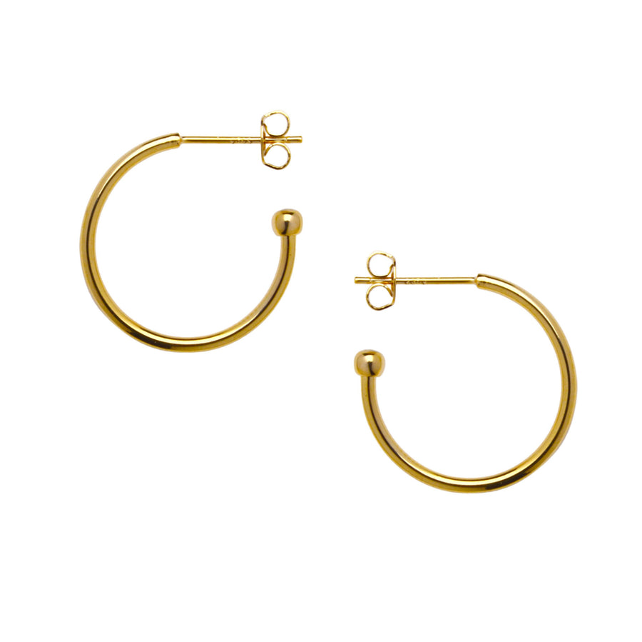 Crescent Moon Hoop Earrings in Gold