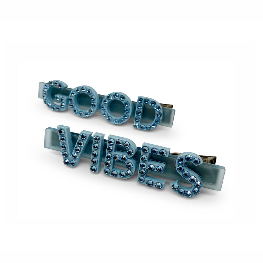 Good Vibes Swarovski Hair Clips in Blue