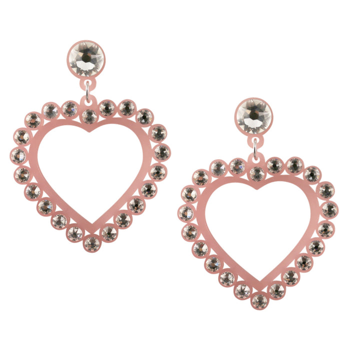 Heart to Heart Crystal Earrings in Pink