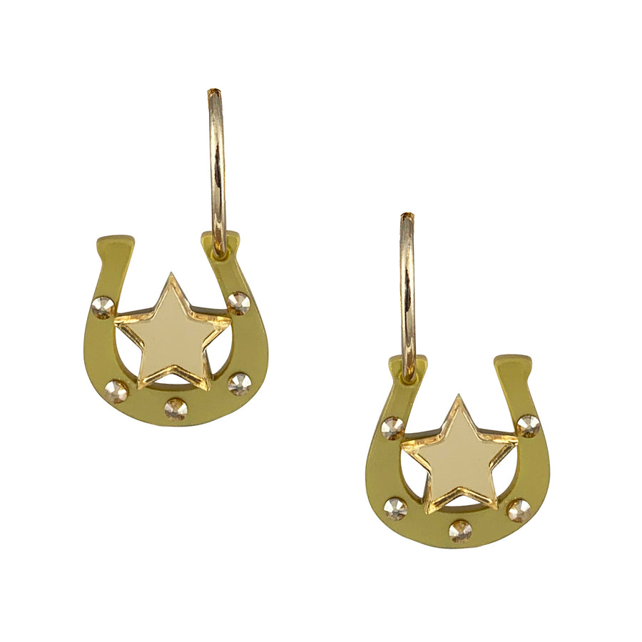 Jennifer Loiselle Horseshoe Lucky Charm Hoop Earrings