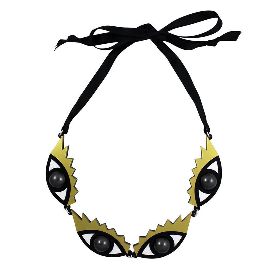Jennifer Loiselle laser cut acrylic Eye statement necklace