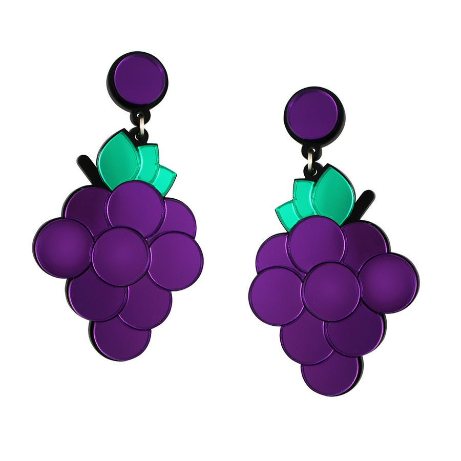 Jennifer Loiselle laser cut Perspex grape earrings