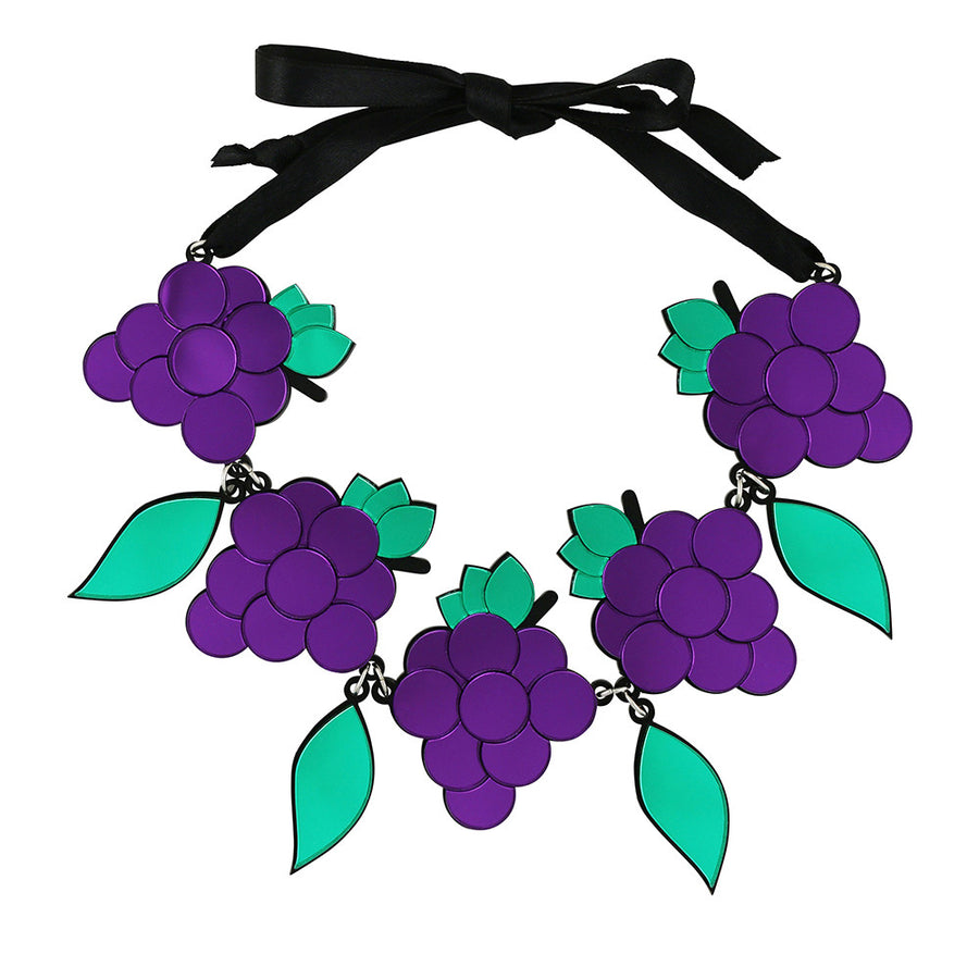 Jennifer Loiselle laser cut Perspex grape necklace