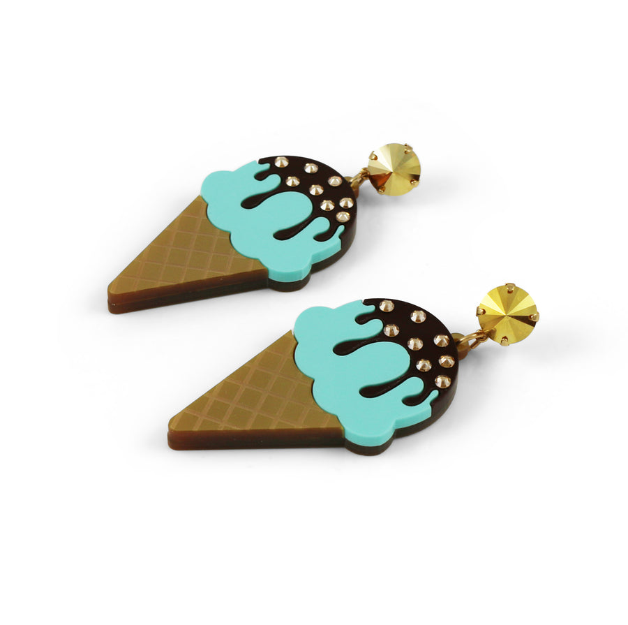 Ice Cream Earrings - Chocolate Dipped Mint